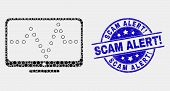 Pixel Online Dotted Chart Mosaic Pictogram And Scam Alert Exclamation Seal Stamp. Blue Vector Rounde poster