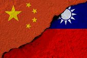 China Flag And Taiwan Flag On Cracked Wall Damage. China Have Conflict And Try To Merge Taiwan To On poster