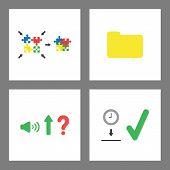 Vector Icon Concept Set. Puzzle Pieces Connecting, Closed Folder, Sound Up And Clock Into Moneybox H poster