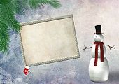 christmas empty frame with a snowman
