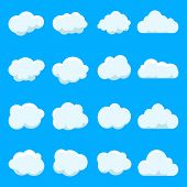 Cartoon Cloud Of Sky On Blue Background.graphic Heaven In Vintage Style.flat Collection Of Blue Clou poster