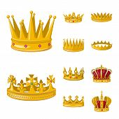 Bitmap Design Of Monarchy And Gold Icon. Collection Of Monarchy And Heraldic Stock Bitmap Illustrati poster