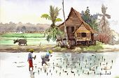 village scenery in watercolor