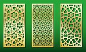 Laser Cut Panels With Islamic Geometric Ornament. Set Of Templates For Wood Or Metal Decoration, Las poster
