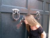 Girl Looking Into A Keyhole (aventine Hill, Rome, Italy)