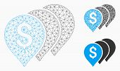 Mesh Money Map Pointers Model With Triangle Mosaic Icon. Wire Carcass Polygonal Mesh Of Money Map Po poster