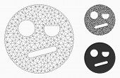 Mesh Negation Smiley Model With Triangle Mosaic Icon. Wire Carcass Polygonal Mesh Of Negation Smiley poster
