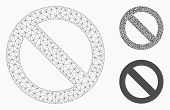 Mesh No Sign Model With Triangle Mosaic Icon. Wire Carcass Polygonal Mesh Of No Sign. Vector Mosaic  poster