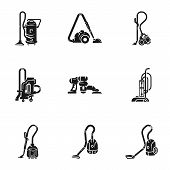 Home Vacuum Cleaner Icon Set. Simple Set Of 9 Home Vacuum Cleaner Vector Icons For Web Design Isolat poster