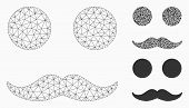 Mesh Mustaches Smiley Model With Triangle Mosaic Icon. Wire Carcass Polygonal Mesh Of Mustaches Smil poster