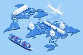 Global Logistics Network Flat 3d Isometric Vector Illustration Icons Set Of Air Cargo Trucking Rail  poster