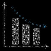 Bright Mesh Negative Trend With Glitter Effect. Abstract Illuminated Model Of Negative Trend Icon. S poster