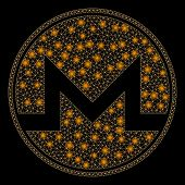 Glowing Mesh Monero Coin With Glare Effect. Abstract Illuminated Model Of Monero Coin Icon. Shiny Wi poster