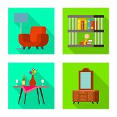 Vector Design Of Comfort And Equipment Logo. Collection Of Comfort And Furniture Stock Symbol For We poster