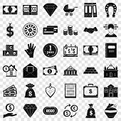 Deposit In Bank Icons Set. Simple Style Of 36 Deposit In Bank Icons For Web For Any Design poster