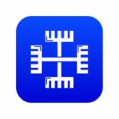 Pagan Ancient Symbol Icon Blue Isolated On White Background poster