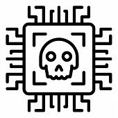 Malicious Technologies Icon. Outline Malicious Technologies Icon For Web Design Isolated On White Ba poster