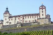 Beautiful Marienberg Fortress In Wurzburg, Bavaria, Germany. Cultural Heritage. Travel Destination. poster