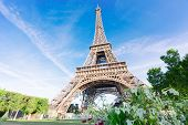 Paris Eiffel Tower Summer Flowers In Paris, France. Eiffel Tower Is One Of The Most Iconic Landmarks poster