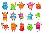 Cartoon Party Monsters. Cute Monster Happy Birthday Gifts, Funny Alien Mascot And Monster With Greet poster