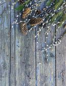 Pussy-willow, Fir Branches And Bumps On Old Shabby Wooden Surface. Willow Twigs In Early Spring. Fla poster