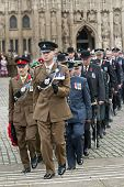 Officers From The Army, Airforce And Navy March From Exeter Cathedral