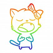 rainbow gradient line drawing of a cartoon cat meowing poster