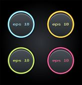 Set Of Glowing Web Buttons. Vector Illustrations