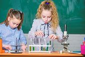 Chemistry Equipment. Students Doing Biology Experiments With Microscope In Lab. Chemistry Education. poster