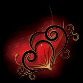 Abstract With Heart On A Black Background