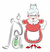 Illustration of a smiling grandmother with a vacuum cleaner.