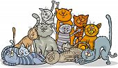 Happy Cats Group Cartoon Illustration