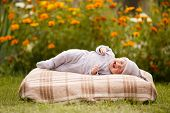 pic of have sweet dreams  - little sweet sleeping baby outdoors - JPG