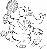 Cartoon elephant playing tennis
