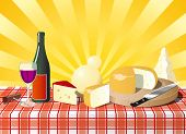 Italian Cheese On The Table With Wine