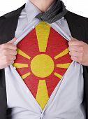 Business Man With Macedonian Flag T-shirt