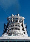 White Smokestack On Cruise Ship