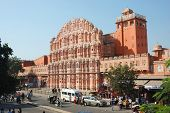 Tourists visiting famous landmark Hawa Mahal (Palace of winds) UNESCO World Heritage