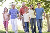 stock photo of extended family  - Three generation Families in a park - JPG