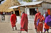 Masai walking through the Arusha village