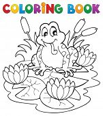 Coloring book river fauna image 2 - vector illustration.
