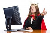 pic of superwoman  - Superwoman worker with crown working in office - JPG