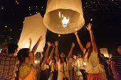 CHIANGMAI THAILAND NOVEMBER 24  : thai people launching sky lantern  in Loy Krathong and Yi Peng Fes