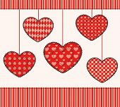 Card with patchwork hearts.