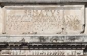 stock photo of spqr  - Main inscription in the Arch of Titus - JPG