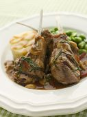 stock photo of lamb chops  - Fricassee of Chicken with Spring Vegetables - JPG