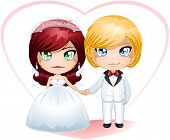 picture of chibi  - A vector illustration of a bride and groom dressed for their wedding day - JPG