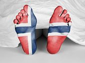 stock photo of autopsy  - Dead body under a white sheet flag of Norway - JPG