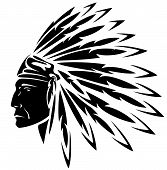 image of indian chief  - red indian chief black and white illustration - JPG