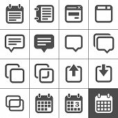 Notes and Memos Icons. Simplus series. Each icon is a single object (compound path)